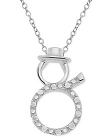 "Diamond Snowman 18"" Pendant Necklace (1/10 ct. t.w.) in Sterling Silver"