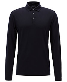 BOSS Men's Virgin Wool Long-Sleeve Polo