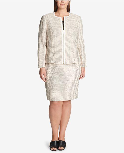 36076f3cd4a Calvin Klein Plus Size Tweed Zip Jacket