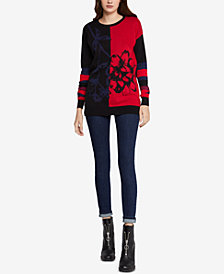 BCBGeneration Cotton Colorblocked Jacquard Sweater
