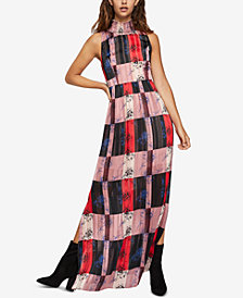 BCBGeneration Printed Smocked-Neck Maxi Dress