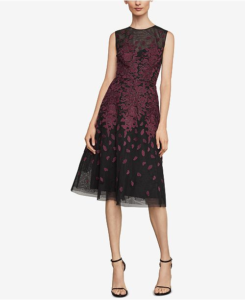 19171e15b5afc BCBGMAXAZRIA Floral-Embroidered Evening Dress   Reviews ...