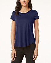 2ad5af2ca784e Alfani Satin-Trim High-Low T-Shirt
