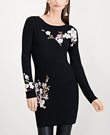 I.N.C. Floral-Embroidered Tunic Sweater, Created for Macy's