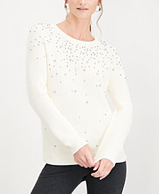 I.N.C. Petite Embellished Sweater, Created for Macy's
