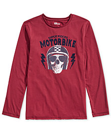 Epic Threads Big Boys Moto Skull Shirt, Created for Macy's