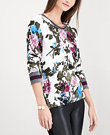 I.N.C. Floral Varsity Stripe Top, Created for Macy's