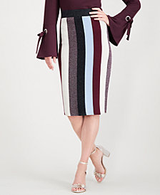I.N.C. Petite Colorblocked Lurex Pencil Skirt, Created for Macy's