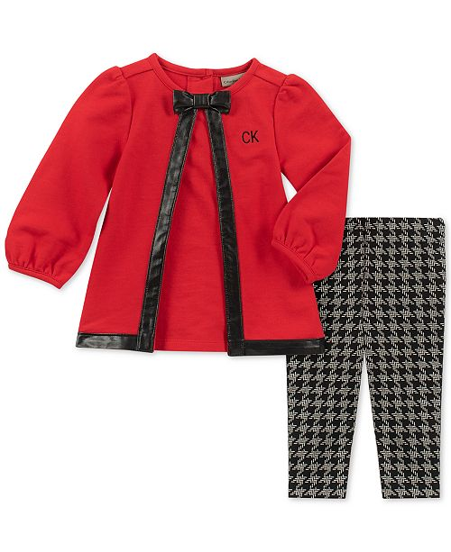 3d17c1ae4 Calvin Klein Baby Girls 2-Pc. Tunic   Houndstooth-Print Leggings Set ...