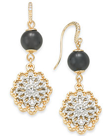 Charter Club Two-Tone Crystal Flower & Jet Imitation Pearl Drop Earrings, Created for Macy's