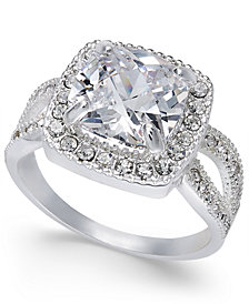 Charter Club Silver-Tone Cushion Cut Crystal Ring, Created for Macy's