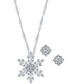 """Charter Club Silver-Tone Crystal Snowflake Pendant Necklace and Stud Earrings Set, 17"""" + 2"""" extender, Created for Macy's"""