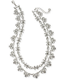 "Charter Club Silver-Tone Crystal Two-Row Statement Necklace, 18"" + 2"" extender, Created for Macy's"