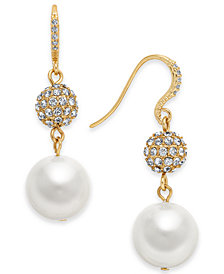 Charter Club Gold-Tone Imitation Pearl and Crystal Pavé Drop Earrings, Created for Macy's