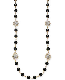 "Charter Club Gold-Tone Crystal Flower & Jet Imitation Pearl Strand Necklace, 42"" + 2"" extender, Created for Macy's"
