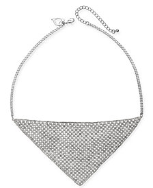 "Thalia Sodi Silver-Tone Crystal Mesh Triangle Statement Necklace, 18"" + 3"" extender, Created for Macy's"