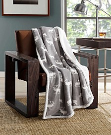 Elk Print Sherpa Throw