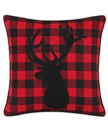Eddie Bauer Cabin Plaid Stag Head Dark Red Square Pillow