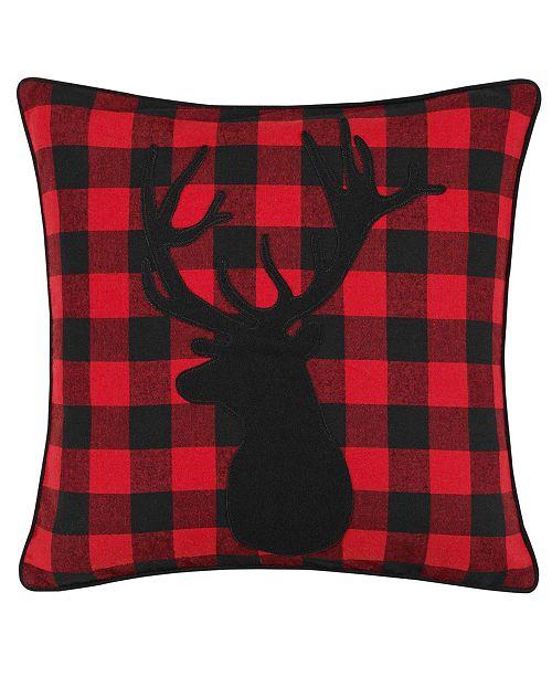 Eddie Bauer Cabin Plaid Stag Head Decorative Pillow