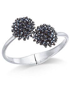 I.N.C. Silver-Tone Crystal Cluster Hinge Bangle Bracelet, Created for Macy's