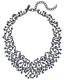 "I.N.C. Jet-Tone & Blue Crystal Vine Bib Necklace, 14"" + 3"" extender, Created for Macy's"