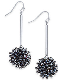 I.N.C. Silver-Tone Crystal Cluster Drop Earrings, Created for Macy's