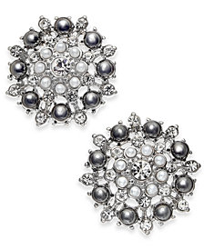 I.NC. Silver-Tone Crystal & Imitation Pearl Cluster Stud Earrings, Created for Macy's