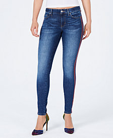 GUESS Varsity-Striped Skinny Jeans