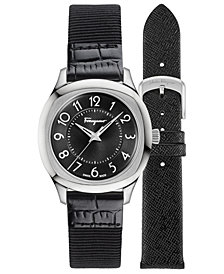 Ferragamo Women's Swiss Time Black Leather Strap Watch with Interchangeable Strap 36x36mm