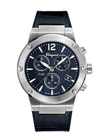 Ferragamo Men's Swiss Chronograph F-80 Blue Leather & Black Caoutchouc Strap Watch 44mm