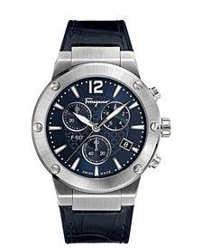 Ferragamo Men's Swiss Chronograph F-80 Blue Leather & Black Caoutchouc Strap Watch 44mm