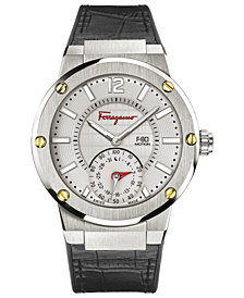 Ferragamo Men's Swiss F-80 Motion Black Leather & Caoutchouc Strap Hybrid Smart Watch 44mm