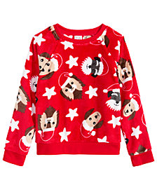 Awake Toddler Girls Dog-Print Faux-Fur Sweater