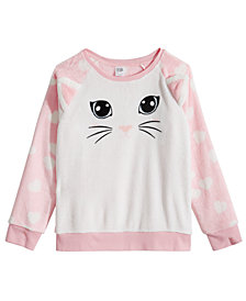 Awake Big Girls Plush Cat Sweatshirt