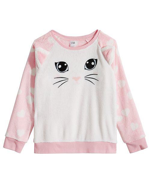 Evy of California Awake Big Girls Plush Cat Sweatshirt