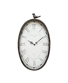 Stratton Home Decor Antique Oval Bird Clock