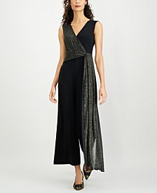 Petite Metallic-Embellished Sleeveless Jumpsuit