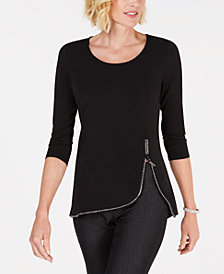 JM Collection Rhinestone Zipper-Trim Top, Created for Macy's
