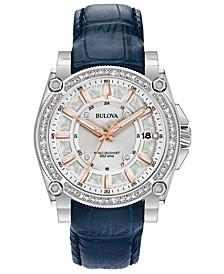 Women's Precisionist Diamond (3/4 ct. t.w.) Blue Leather Strap Watch 40mm