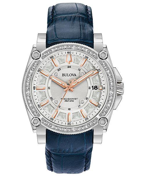 Bulova Women's Precisionist Diamond (3/4 ct. t.w.) Blue Leather Strap Watch 40mm