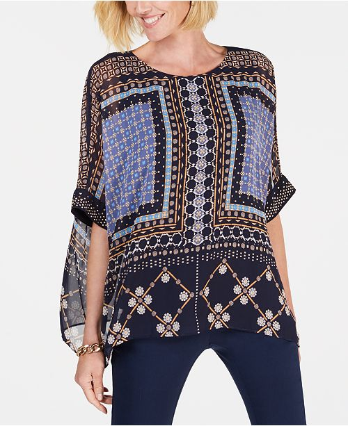 885bb09a02d ... JM Collection Printed Embellished Poncho Top
