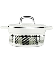 CLOSEOUT! Martha Stewart Collection Grey Plaid 2-Qt. Enamel Cast Iron Dutch Oven, Created for Macy's