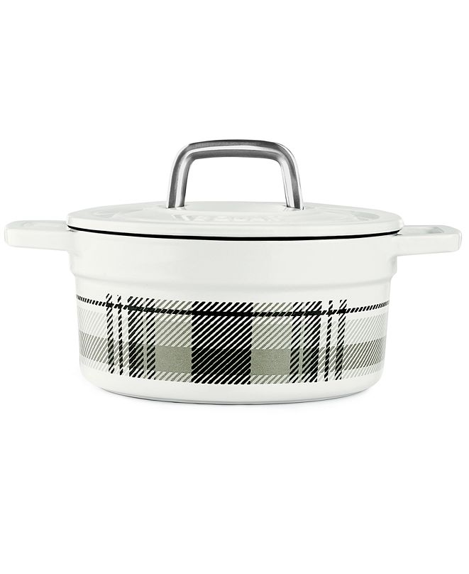 Martha Stewart Collection CLOSEOUT! Grey Plaid 2-Qt. Enamel Cast Iron Dutch Oven, Created for Macy's