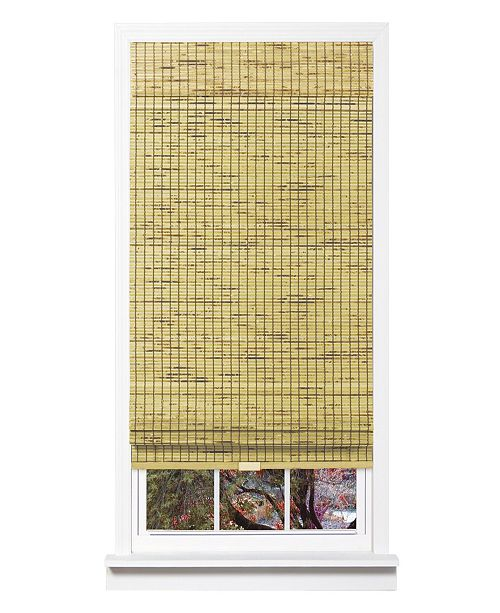 "US Shade & Shutter Cordless Burnout Bamboo Roman Shade, 33""x 64"""