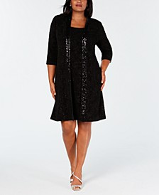 Plus Size Sequin Sheath Dress & Jacket