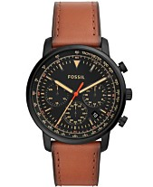 418bf6b5a36 Fossil Men s Chronograph Goodwin Brown Leather Strap Watch 44mm