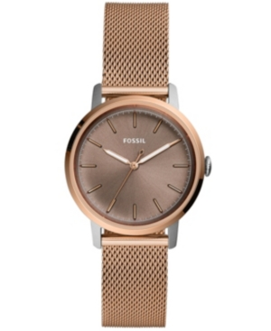 Fossil WOMEN'S NEELY ROSE GOLD-TONE STAINLESS STEEL MESH BRACELET WATCH 34MM