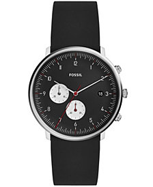Fossil Men's Chronograph Chaser Timer Black Silicone Strap Watch 42mm