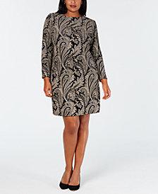MSK Plus Size Glitter-Print Velvet Sheath Dress