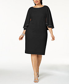 Calvin Klein Plus Size Embellished-Capelet Sheath Dress